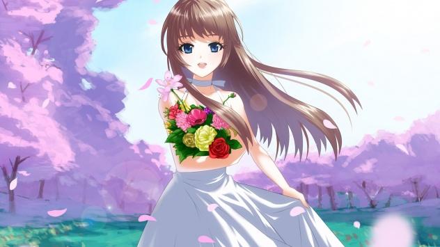 Аниме обои картинки Девушка с букетом цветов