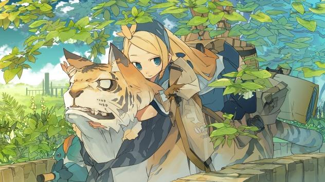 Аниме обои картинки Тигр и девочка