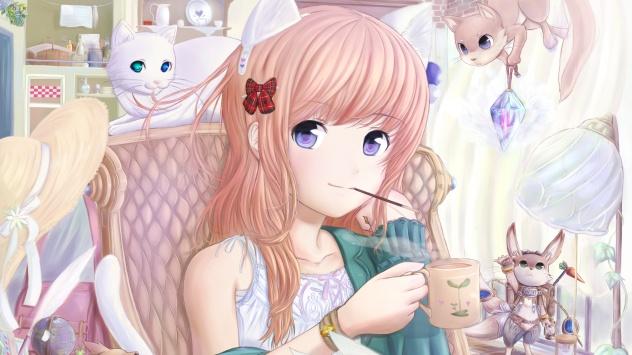 Аниме обои картинки Она очень любит кошек ^_^