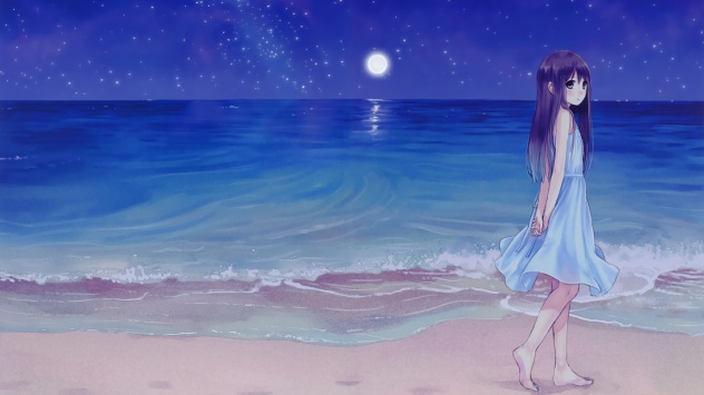 Аниме обои картинки Грустная девочка на берегу океана