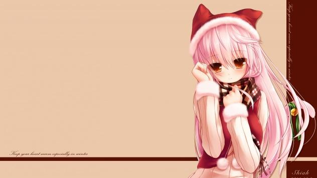Аниме обои картинки Уши животных, девушка-кошка, розовые волосы