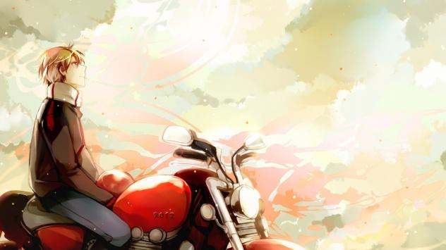 Аниме обои картинки Оригинал, небо, облака, мотоцикл