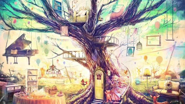 Аниме обои картинки Оригинальный дом на дереве. рисунок