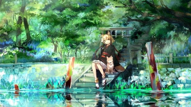 Аниме обои картинки Девушка в кимоно в живописном месте