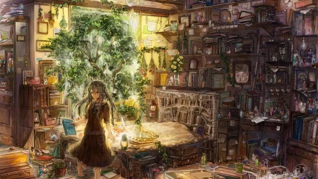 Аниме обои картинки Уютная комната