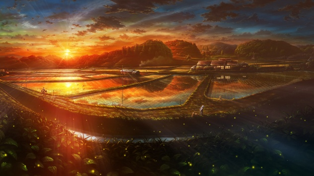 Аниме обои картинки Живописный закат в стране восходящего солнца
