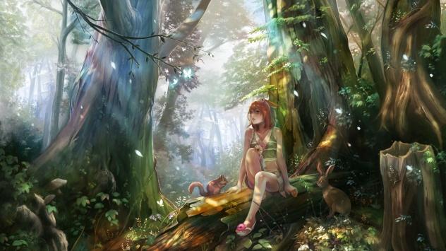 Аниме обои картинки Потрясающий сказочный лес в аниме стиле