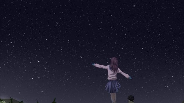 Аниме обои картинки Ночь, оригинал, живописный, перчатки, трава, небо