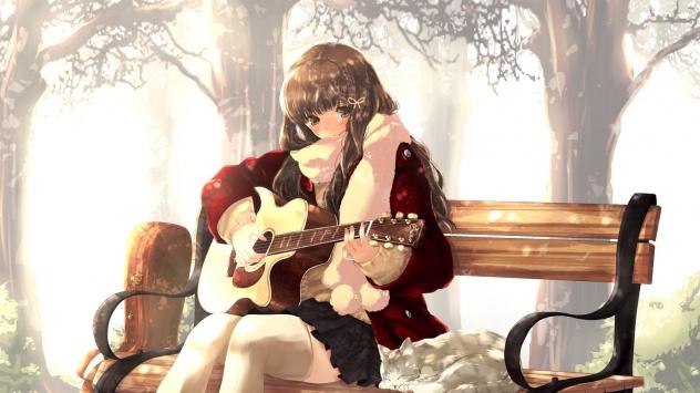 Аниме обои картинки Гитара, каштановые волосы, инструмент, оригинал