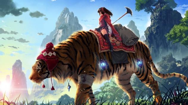 Аниме обои картинки Сверкающий меч в руках хрупкой девушка на тигре