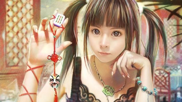 Аниме обои картинки Японская девушка нарисованная в аниме стиле