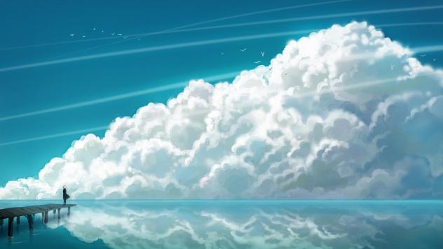 Аниме обои картинки небо, облака, птица, живописный пейзаж, вода