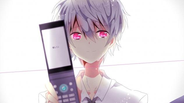 Аниме обои картинки Японский мальчик с телефоном раскладушкой