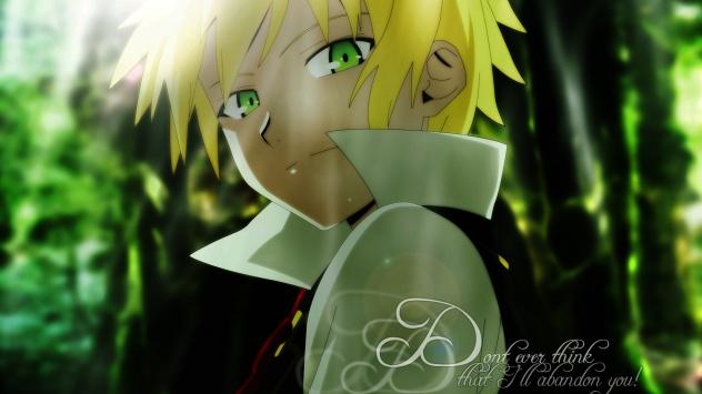 Аниме обои картинки Зеленоглазый блондин
