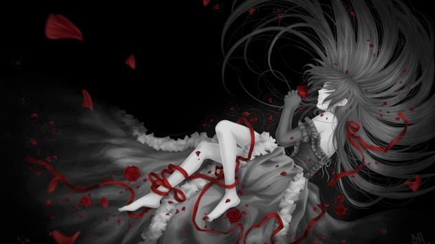 Аниме обои картинки Алиса. Длинные волосы. Сердца пандоры