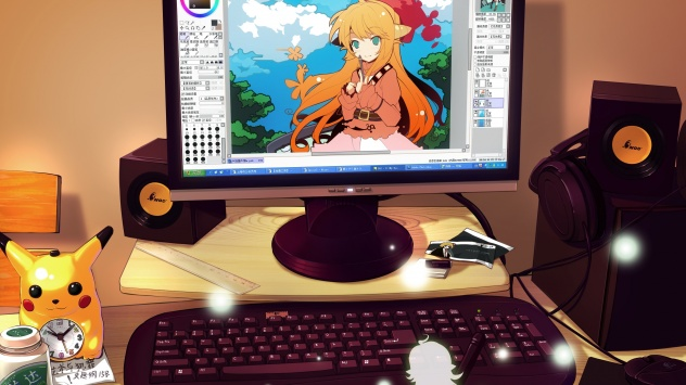 Аниме обои картинки Ideolo, компьютер, животные, Покемон: Алмаз и Жемчуг, Румия