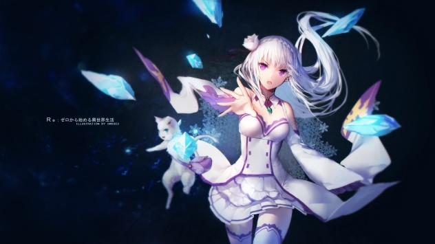 Аниме обои картинки кошка, животные, Emilia
