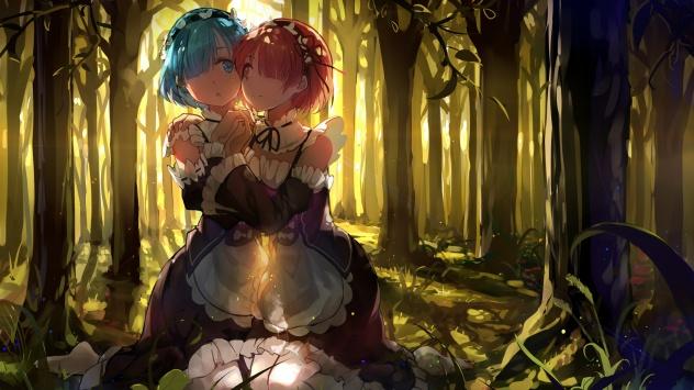 Аниме обои картинки розовые волосы, 2 девушки, синие волосы, лес, дерево