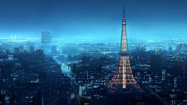 Аниме обои картинки Ночной париж в аниме стиле