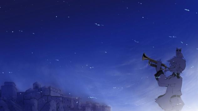 Аниме обои картинки Звуки небес, животные, ночь, Сорами Каната, небо, птица