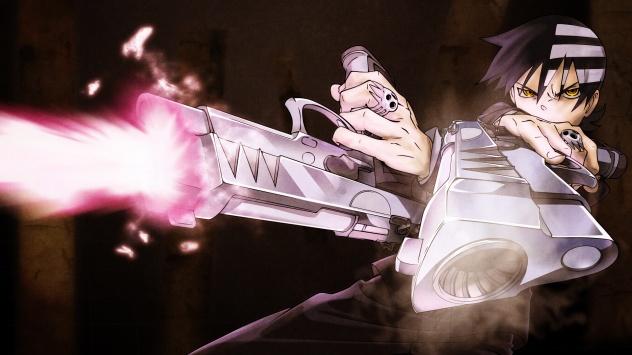 Аниме обои картинки Кид с пистолетами из Пожирателей душ