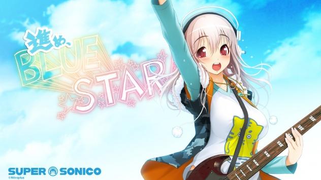 Аниме обои картинки Супер Сонико, суперстар с гитарой