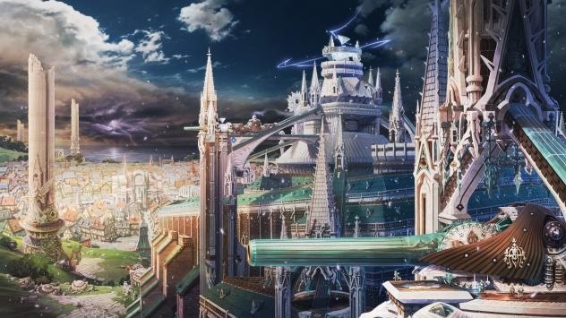 Аниме обои картинки Красивый городской пейзаж