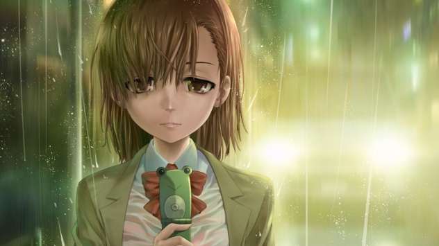 Аниме обои картинки Грустная девочка с телефон в руках стоит под дождем