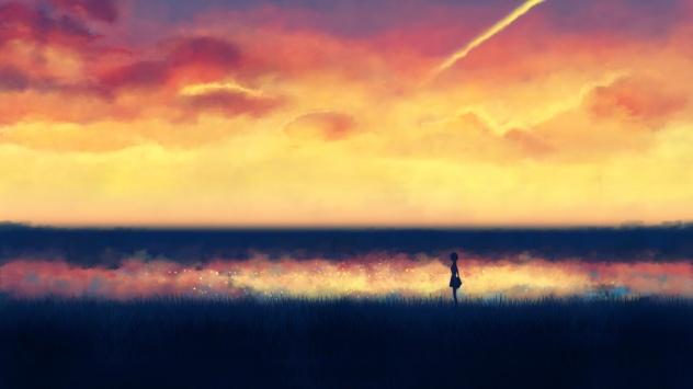 Аниме обои картинки Девочка покорившая время на горизонте