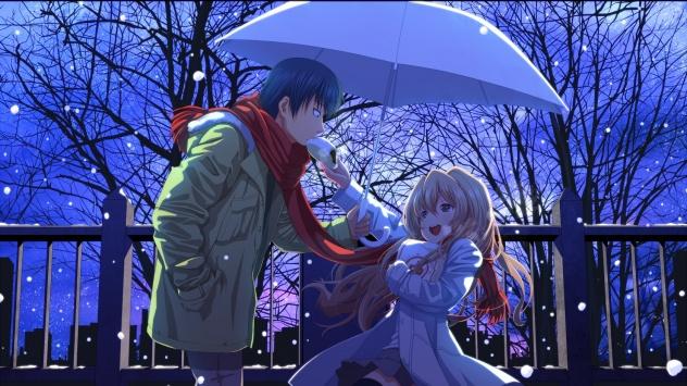 Аниме обои картинки Под зонтом