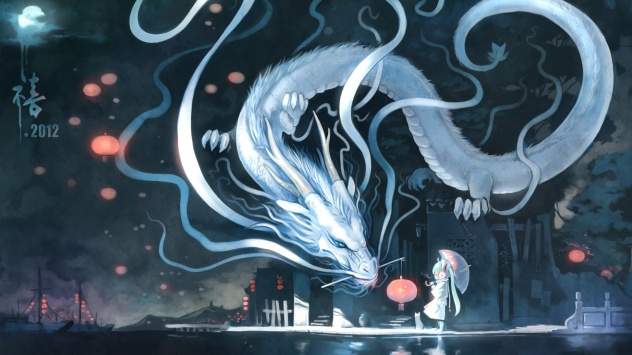 Аниме обои картинки Японский дракон в полете, серия вокалоид