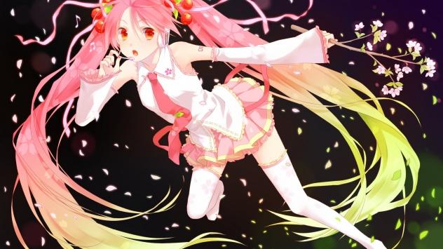 Аниме обои картинки Вокалоид, Sakura Miku, Hatsune Miku, цветущая сакура, юбка
