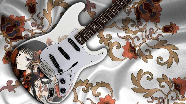 Аниме обои картинки Крутая гитара с портретом Юко из Триплексоголика